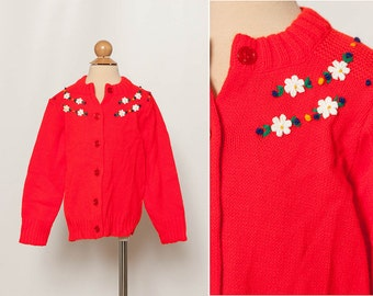 vintage 1970s red toddler cardigan sweater