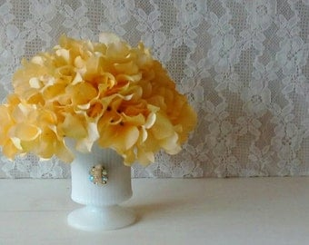 Flower Arrangement  Yellow Spring Summer Arrangement Table Top Floral Yellow Hyrangeas  Shabby Cottage Chic Vintage Milk Glass