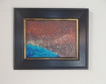 Small Texture Painting 6x8 The Way Out sea cave ocean abstract art original wall art