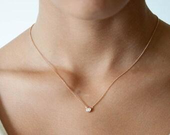 Sale Halloween Diamond solitaire bezel necklace, 18k solid gold, Bridal necklace, solitaire diamond necklace