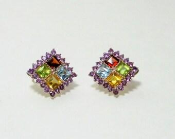Vintage Multi Colored Rhinestone Sterling Earrings, Jewelry