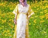 BIG ASS SALE Sale vintage 70s 1970s maxi dress caftan / bell sleeve semi sheer lemon yellow silver / ethnic Indian boho hippie festival godd