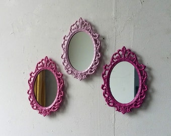 Pink Nursery Wall Decor, Small Mirror Set, Oval Mirrors, Girl Baby Shower, Shades of Pink, Room Decor, Little Girl Gifts
