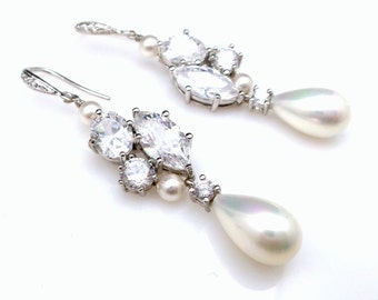 Wedding earrings bridal jewelry white gold silver cubic zirconia hooks white teardrop shell drop round pearls cluster cz marquise connectors