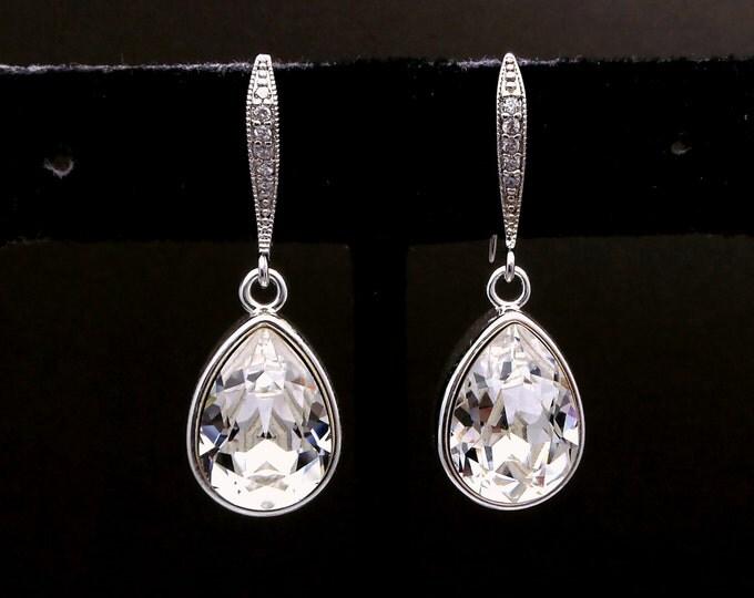 wedding jewelry bridal earrings bridesmaid gift prom party fancy rhinestone Swarovski clear white teardrop crystal rhodium silver hook