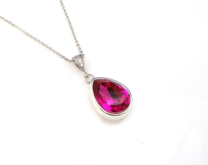 bridal necklace bridesmaid gift Swarovski hot pink fuchsia teardrop foiled crystal rhinestone pendant with sterling silver chain necklace