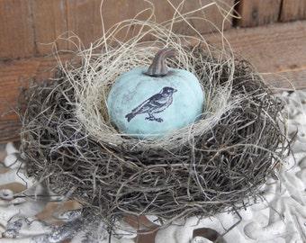 Bird Nest Pumpkin Shabby French Rustic Home Decor