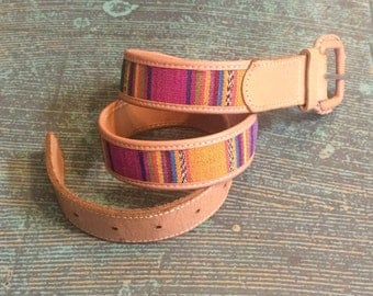 Vintage 70s Guatemalan cotton and leather belt // size small //  native ethnic western southwestern boho hippie