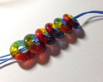 DIY Jewelry with Handmade RAINBOW Beads Jewelry Supplies Fused Glass Beads - Set of 6  Pride Jewelry  ROYGBIV Jewelry Craft Supplies Jewelry