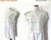 50% OFF SALE SALE vintage romper play set 80s pastel colors striped shorts top summer womens clothing size large l