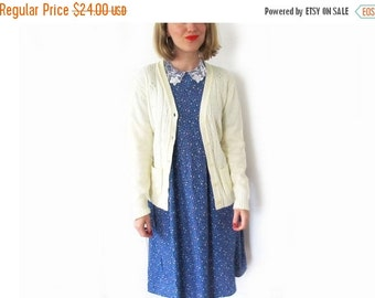 50% OFF SALE vintage sweater cardigan 80s ivory pointelle off white cream 1980s womens clothing size s m small medium