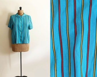 SALE vintage blouse 80s striped turquoise bold colors short sleeve womens 1980s clothing size medium m
