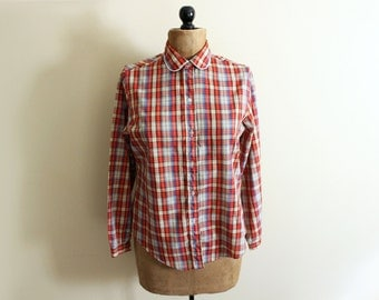 vintage blouse plaid 80s shirt tomato red trim peter pan collar 1980s womens clothing size medium m