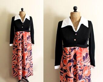 SALE vintage dress 70s maxi retro womens clothing white collar floral print novelty black purple size medium m