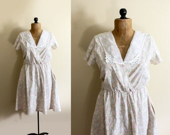 vintage dress 1980s pastel floral print womens clothing gauze lace collar size s m small medium