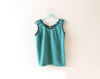 vintage tank top 70's green retro classic 1970's womens clothing size s m small medium