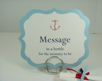 Nautical Baby Shower Message in a Bottle Sign and Text Paper for your Guests to Write a Message to the Mommy to Be as a Baby Shower Activity