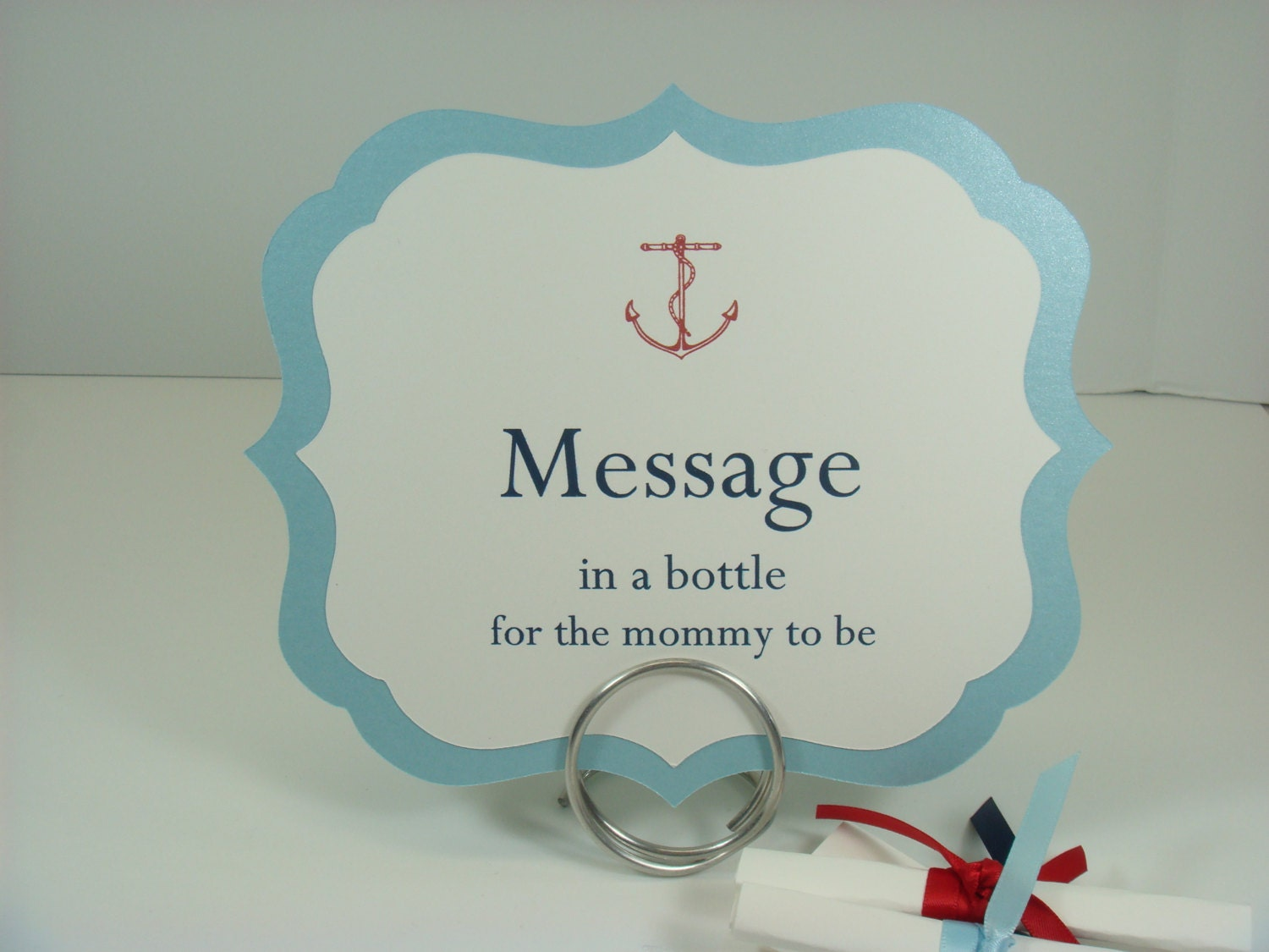 Nautical Baby Shower Message in a Bottle Sign and Text Paper – Baby Shower Message