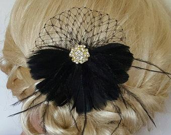 Bridal Hair Fascinator, Wedding Hair Clip, Black Bridal Fascinator, White Feather Hair Clip, Bridal Headpiece, Wedding Feather Fascinator