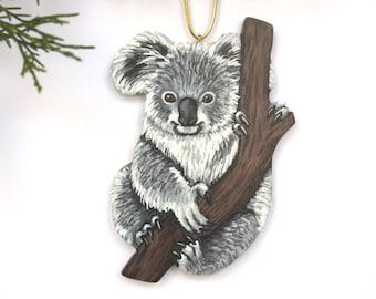 Baby Koala Ornament - Handmade Christmas Animal Decoration - Hand Painted Wood Holiday Decoration - Australian Koala Bear