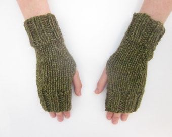Hand Knit Fingerless Mittens/Texting Gloves-Joshua Tree-Green  Wrist Warmers