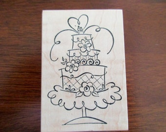 rubber stamp mounted on wood- cake, wedding, anniversary