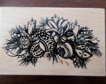 PSX rubber stamp mounted on wood - Christmas, swag, candles and bells, G-1562