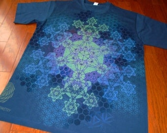 XL Metatron's Cube Fractal Mandala Hand Painted Sacred Geometry T-Shirt w/ Flower of Life, Honeycomb, Hexagon Fractal, Chakras
