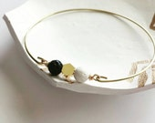 Lava rock bangle -black and white -essential oil bracelet, delicate modern jewelry