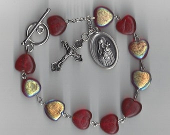 Red Heart Beads Rosary Bracelet - St. Therese Saint Medal featured!  Free Domestic Shipping!
