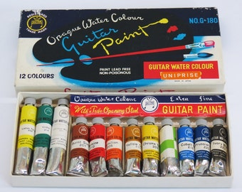 Opaque Water Colour Set Guitar Paint Made in Japan c. 1960s Unused Old Stock