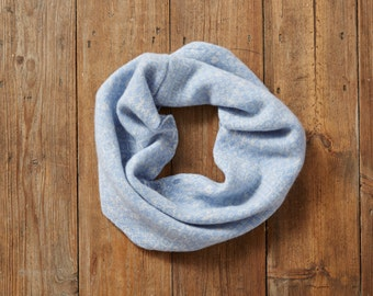 Light blue & white snood, Fair Isle snood, infinity scarf, loop scarf, snood, light, pattern, wool, snood, lambswool, soft, warm, pattern