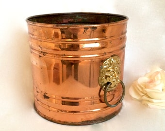 Copper Planter Cylindrical Copper with Brass Lion Knocker handles