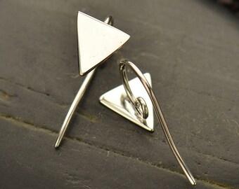 Triangle Hook Earrings with Hidden Loop - C3052, Sterling Silver