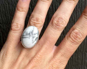 Large White Grey Oval Howlite Turquoise Boho Rocker Chic Sterling Silver Ring
