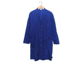 Vintage European Dark Cobalt Blue Cotton Button Up Three Pocket Lightweight Lotus Shop Chore Coat - Medium