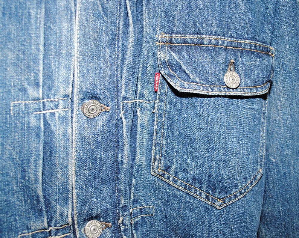 Vintage LEVI'S 1940's Big E Rare First Model Single Pocket Denim Jean Jacket Made in USA - Small