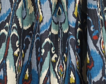 Ikat Bands Indigo Robert Allen Drapery Fabric