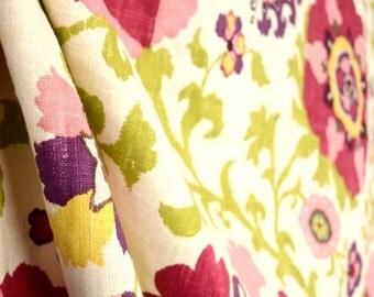 Silsila Cherry Cream Pink Green Purple Linen Suzani Floral Fabric