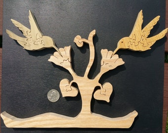Wooden Hummingbird with Floral Base Puzzle Customizable American Hardwood