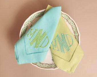Monogrammed Hemstitched Spring Linen Dinner Napkins-- Lime or Turquoise