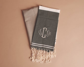 Split Color Fouta Turkish Towel for Kitchen or Bath with Monogram