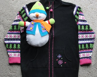 Ugly Christmas Sweater with 3D Snowman Beads and Sequins