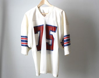 vintage COLLEGE FOOTBALL number 75 nixon red, white, and blue FADED 70s 80s mesh jersey