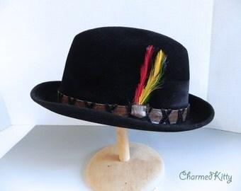 Vintage 1960s Men's Hat - 60s Pork Pie Mod Black Hat Long Fur Felt - on sale