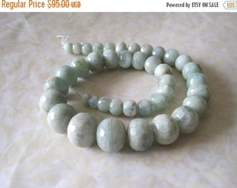 "20% OFF ON SALE 16""  long Aquamarine Graduate Faceted Rondelle 10mm-20mm Beads, Gemstone Beads"