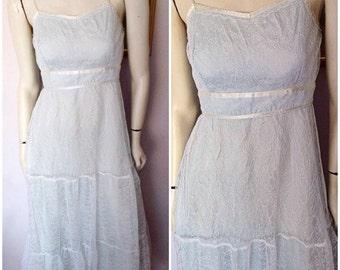 Vintage 70s Pale Blue White Lace Sweetheart Neckline Wedding Maxi Sun Dress.Small.Bust 34.Waist 27.