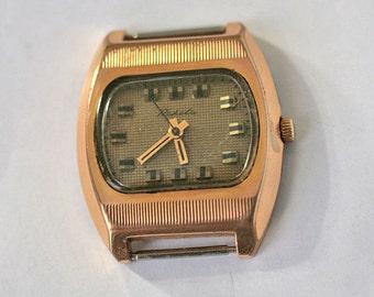 "Russian Watch Mens ""RAKETA"" Working Mechanical Gold Tone AU-10 from Soviet Union"