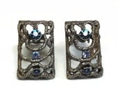 50's Modernist Sapphire & Topaz Rhinestone Earrings with Pave Set Chaton Cut Crystals in Antiqued Silver Metal - Vintage 50s Costume Jewelry