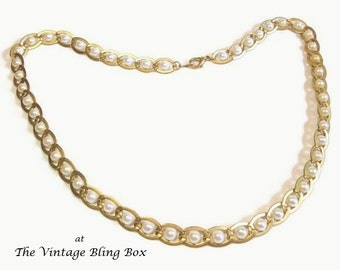 70s Pearl Necklace Wrapped in Gold Chain Link with Silver Pearls in Satin Marine Link Motif - Vintage 70's Simulated Pearl Costume Jewelry
